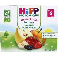 Dessert Fruite - Compote - Puree Fruit Bebe HIPP BIOLOGIQUE 100% fruits Compote Pommes Bananes Fruits Rouges - 4x100 g - Des 6 mois