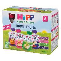 Dessert Fruite - Compote - Puree Fruit Bebe HIPP BIOLOGIQUE Gourdes 100% fruits- Fruits variés - 8x90 g - Des 6 mois