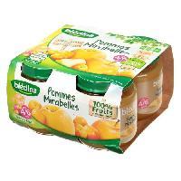 Dessert Fruite - Compote - Puree Fruit Bebe Lot de 4 pots de compote de fruits Pomme et Mirabelle Des 4 mois 4 x 130 gr