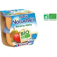 Dessert Fruite - Compote - Puree Fruit Bebe NESTLA? Naturnes Bio Pomme Peche Poires - 2x115 g - Des 46 mois