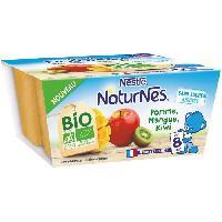 Dessert Fruite - Compote - Puree Fruit Bebe NESTLE Naturnes BIO Compotes pomme mangue kiwi 4x90g