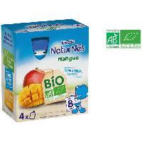 Dessert Fruite - Compote - Puree Fruit Bebe NESTLÉ Naturnes Bio Gourde a la mangue - 4x90 g - Des 8 mois Nestle