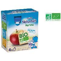 Dessert Fruite - Compote - Puree Fruit Bebe NESTLÉ Naturnes Bio Gourde a la pomme - 4x90 g - Des 4/6 mois - Nestle