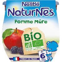 Dessert Fruite - Compote - Puree Fruit Bebe NESTLÉ Naturnes Bio Pomme Mûre - 2x115 g - Des 6 mois - Nestle