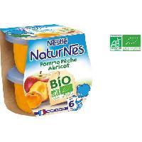 Dessert Fruite - Compote - Puree Fruit Bebe NESTLÉ Naturnes Bio Pomme Peche Abricot - 2x115 g - Des 6 mois - Nestle