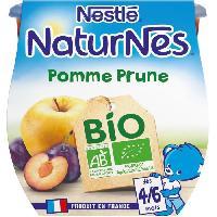Dessert Fruite - Compote - Puree Fruit Bebe NESTLÉ Naturnes Bio Pomme Prune - 2x115 g - Des 4/6 mois - Nestle
