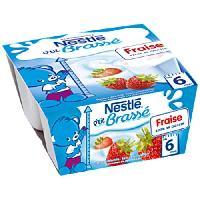 Dessert Fruite - Compote - Puree Fruit Bebe NESTLÉ P'tit Brassé Fraise - 4x100 g - Des 6 mois - Nestle