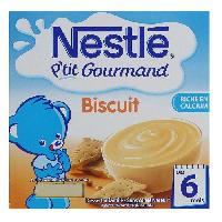 Dessert Fruite - Compote - Puree Fruit Bebe NESTLÉ P'tit Gourmand Biscuit 4x100 g - Des 6 mois - Nestle