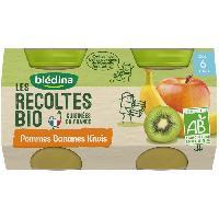 Dessert Fruite - Compote - Puree Fruit Bebe Petits pots pommes bananes kiwi Les recoltes Bio - Des 6 mois - 2 x 130 g