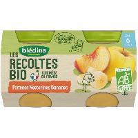 Dessert Fruite - Compote - Puree Fruit Bebe Petits pots pommes nectarines bananes Les recoltes Bio - Des 6 mois - 2 x 130 g