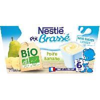 Dessert Lacte - Yaourt Au Lait Infantile Ptit Brasse Bio Poire Banane - 4x90 g - Des 6 mois