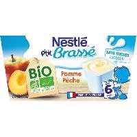 Dessert Lacte - Yaourt Au Lait Infantile Ptit Brasse Bio Pomme Peche - 4x90 g - Des 6 mois