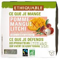 Desserts - Aide Patisserie Compote Pomme Mangue Litchi Bio - 4 x 100g