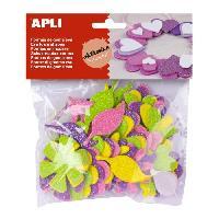Dessin - Coloriage APLI Pochette de 48 fleurs En mousse - Adhésive a paillettes