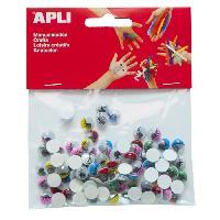 Dessin - Coloriage APLI Sachet de 100 yeux mobiles - Adhesifs ovale avec cils