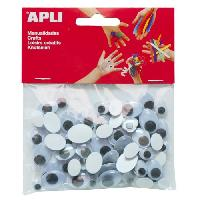 Dessin - Coloriage APLI Sachet de 100 yeux mobiles - Adhesifs ovales tailles assorties
