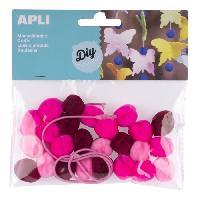 Dessin - Coloriage APLI Sachet de 25 pompons - Rose + cordon