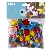 Dessin - Coloriage APLI Sachet de 78 pompons - brillants Couleurs assorties