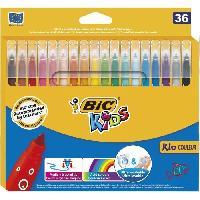 Dessin - Coloriage BIC Kids Kid Couleur Feutres de Coloriage a Pointe Moyenne - Couleurs Assorties. Etui Carton de 36