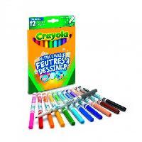 Dessin - Coloriage Crayola - 12 Feutres a dessiner ultra lavables (pointe fine) - boîte française - se nettoie sans frotter