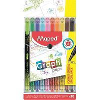 Dessin - Coloriage MAPED - Assortiment de 10 feutres Fin Graph'peps - Corps décoré - Couleurs éclatantes