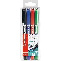 Dessin - Coloriage STABILO 4 stylos-feutres SENSOR M - pointe moyenne : Noir. bleu. rouge. vert
