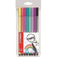 Dessin - Coloriage STABILO 8 feutres de dessin Pen 68 Living colors - Décor joyeux
