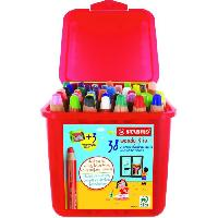 Dessin - Coloriage Schoolbox x 38 crayons multi-talents STABILO woody 3in1 + 3 taille-crayons