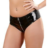 Dessous Shorty noir en vinyl avec zip - Taille L