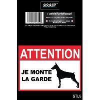 Disque Et Autre Adhesif De Signalisation ATTENTION JE MONTE LA GARDE Adhesif pre-decoupe - Dimension - 9 x 6.5 cm - Resistant - Stickzif