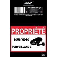 Disque Et Autre Adhesif De Signalisation PROPRIETE SOUS VIDEO SURVEILLANCE Adhesif pre-decoupe - Dimension 9 x 6.5 cm - Resistant - Stickzif