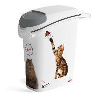 Distributeur D'aliment CURVER Conteneur a croquettes empilable Love pets 10 Kg - Blanc - Pour chat