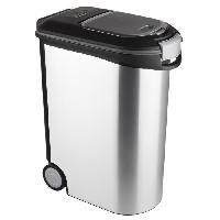 Distributeur D'aliment Conteneur a croquettes 20kg - Aspect metal - Gris