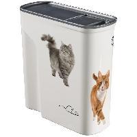 Distributeur D'aliment Verseuse 6L decor chat - Blanc