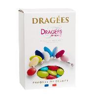 Dragees DRAGEES DE FRANCE Dragees Chocolat - Couleurs - caraibes. vert anis. vert pomme. orange. jaune soleil. rouge et fuchsia - Boite 1 kg