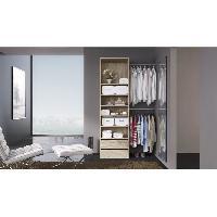 Dressing - Kit Amenagement De Placard COMBI Kit dressing 1 colonne 60 cm + 2 barres de penderie - Decor chene clair