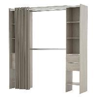 Dressing - Kit Amenagement De Placard DANA Kit placard extensible + rideau contemporain decor chene shannon - L 115 190 cm