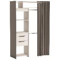 Dressing - Kit Amenagement De Placard DRESS Dressing extensible classique blanc et gris graphite - L 112-168 cm