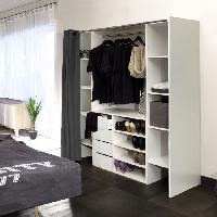 Dressing - Kit Amenagement De Placard DRESS Kit dressing extensible 112-185 cm + rideau - Blanc et anthracite