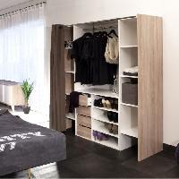 Dressing - Kit Amenagement De Placard DRESS Kit dressing extensible 112-185 cm + rideau - Blanc et decor chene
