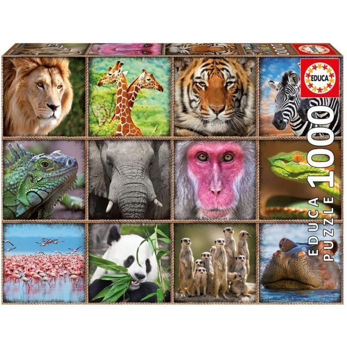 EDUCA-Puzzle-1000-Collage-D-039-Animaux-Sauvages