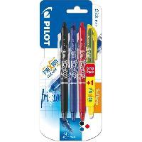 Ecriture - Calligraphie PILOT - Frixion Ball Clicker Moyen - Encre noire / bleue / rouge - x3 + 1  BONUS PACK Frixion Light Jaune
