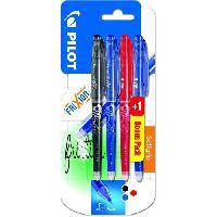Ecriture - Calligraphie PILOT - Frixion Point Fin - Encre noire / bleue / rouge - x3 + 1 BONUS PACK Bleu ou Vert Assortis