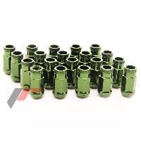 Ecrous de roues 20 Ecrous JN1 12x125 ouverts - L2 45mm - Acier Forge - Vert - coniques