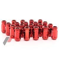 Ecrous de roues 20 Ecrous JN1 12x125 ouverts - L2 45mm - Acier Rouge - coniques