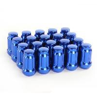 Ecrous de roues 20 Ecrous JN2 12x125 Fermes - L2 45mm - Acier Forge - Bleus - coniques