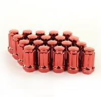 Ecrous de roues 20 Ecrous JN2 12x125 Fermes - L2 45mm - Acier Forge - Rouges - coniques