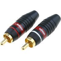 Elec Auto 2 Connecteurs RCA Males - Blanc et Rouge - cable 6mm max - Or
