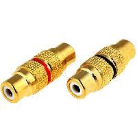 Elec Auto 2x Adaptateurs RCA Femelle Femelle dores