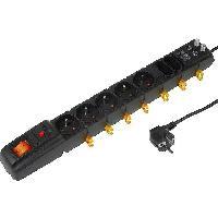 Electricite - Domotique Multiprise noire avec rallonge 1.5m - parafoudre - 7 prises 230VAC 10A